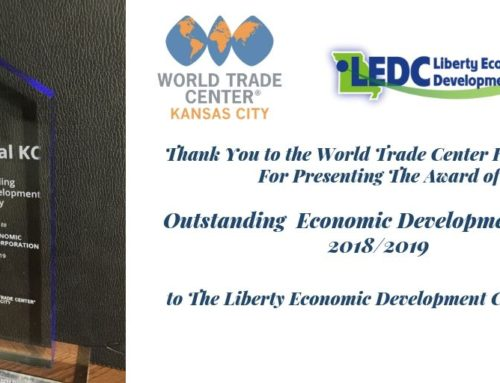 "Thank you to the World Trade Center – Kansas City for awarding Liberty EDC with the ""Outstanding Economic Development Agency"" award!"